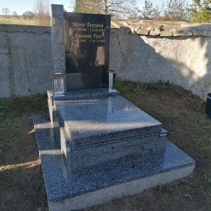 Vzor č.80 - Urnový pomník Vahlovice + Impala se sloupkem, chodníček